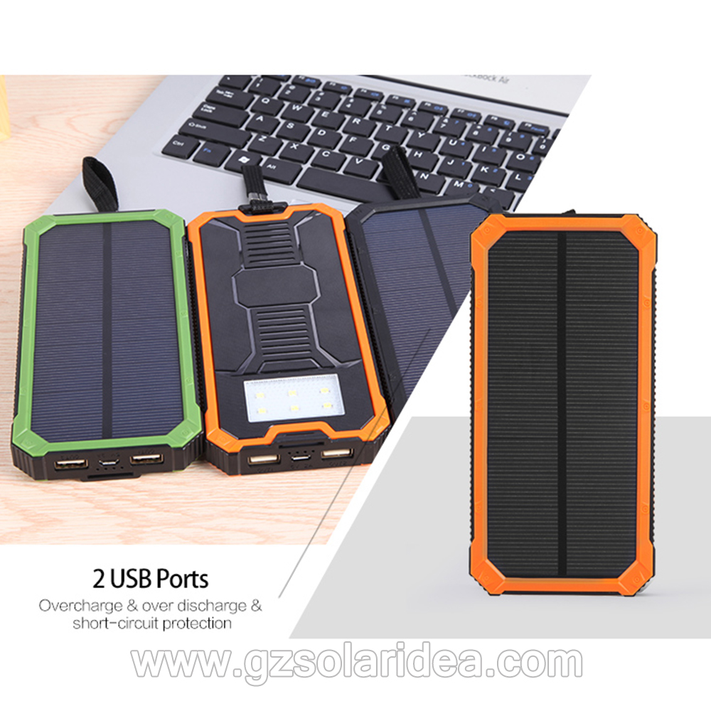 LED Light Cell Phone Solar Powered Battery Charger