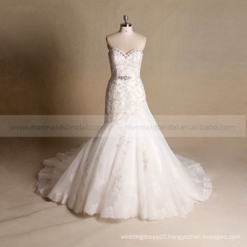 Elegant mermaid sleeveless bling beads bottom tulle and lace wedding dress with beads on the waist