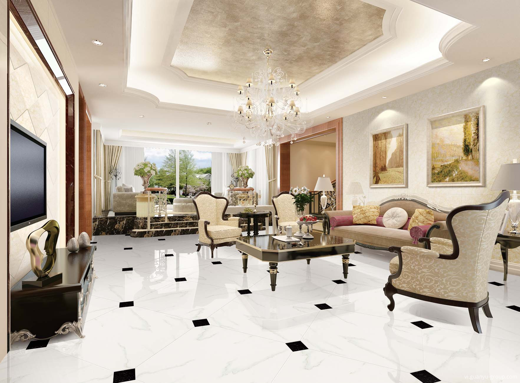 Super White Polished Porcelain Tile