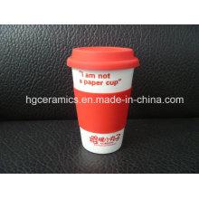 Фарфоровая кружка для кофе с крышкой из силикона, одинарная стенка