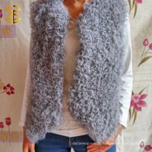 Novo projeto Mongolian Lamb Fur Vest Jacket New Fashion Curly Mongolian Fur Fur Vest Jacket