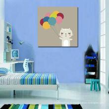 Симпатичные кошки с воздушными шарами холст печать для детей