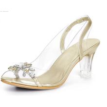 Women′ S Clear Slingback Flower Rhinestone Peep Toe Heels Sandals