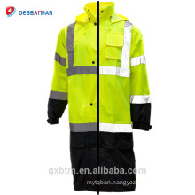 Wholesale ANSI Waterproof Hi Vis Rain Jacket Hi Visibility Reflective Safety Man Hooded Long Raincoat Traffic