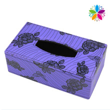 Purple Rectangle Flower Leather Tissue Box (ZJH073)