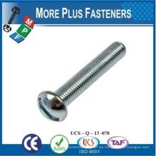 Hecho en Taiwán Aluminio Acero inoxidable Zinc plateado cabeza redonda Slotted unidad de tornillo de la máquina