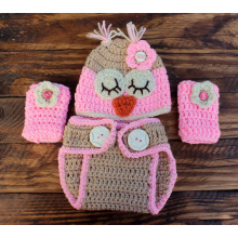 Crochet Owl Infant Set Hat Diaper Cover Leg Warmers
