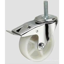 Rosca industrial del echador de la bola de los PP del echador blanco con el freno lateral