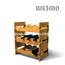 Vinho, exposição, garrafa, prateleira, bambu