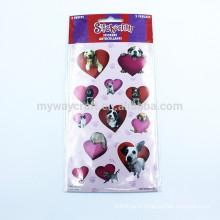 Lovely Dog Cat Purple & Red Heart Combine Velvet Sticker