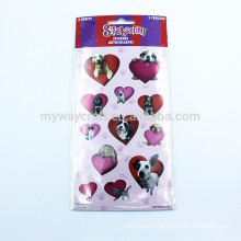 Прекрасная собака Cat Purple & Red Heart Combine Velvet Sticker