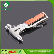 Stainless steel multi function tool with emergency glass hammer