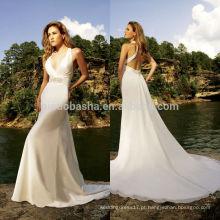 2014 Sexy Halter Neck Backless Organza A-Line Vestido de casamento de estilo de praia Vestido de noiva China Custom Made Online Shop NB0899