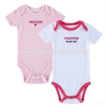New Born Baby Kleinkinder Kleidung Bio-Baumwolle Plain Pink und Weiß Baby Strampler