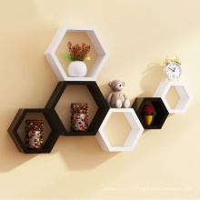 Wooden Hexagon Mounted Floating Shelves Wall Decor Storage Racks Children's Room DIY Decoration