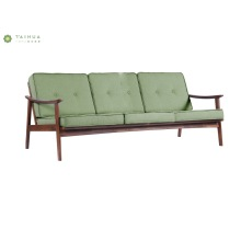 Nordic Three Seat Sofa with Solid Wood Legs