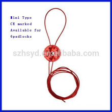 Nylon Material Sheathed Metal Cable Mini Type cable lockout C14 with CE Marked