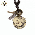 Promotional antique gold custom Poker pendant with necklace