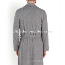 Poches de poche avant robe en maille pour hommes avec ceinture pur robe en cachemire