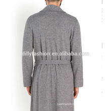 front pouch pockets men's knit robe with belt pure cashmere robe