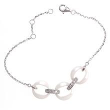 Jóias de prata esterlina e pulseira de cerâmica (T20054)