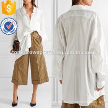 Übergroße White Satin Shirt Herstellung Großhandel Mode Frauen Bekleidung (TA4132B)