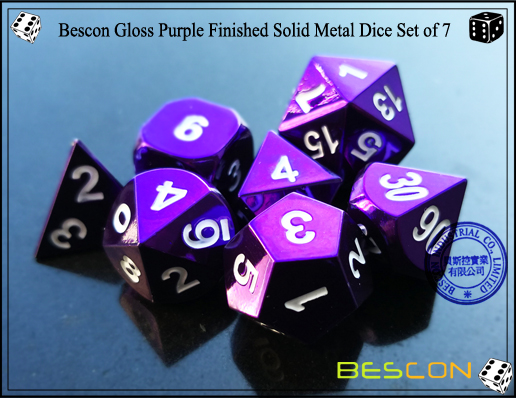Bescon Gloss Purple Finished Solid Metal Dice Set of 7-4
