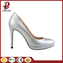 silver PU Newest stylish women shoes pumps
