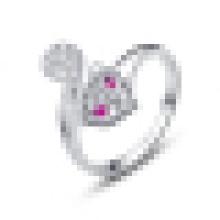 Bonito anel de abertura em forma de raposa prata esterlina 925 das mulheres