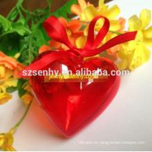 Bola de plástico decorativo de la Navidad de la forma del corazón con la abertura