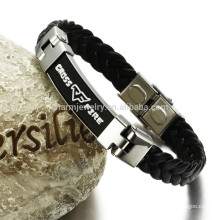 stainless steel leather bracelet for man wide bracelet,delivery time with high quality PH820