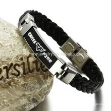 Pulseira de couro de aço inoxidável para o homem pulseira larga, tempo de entrega com alta qualidade PH820