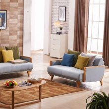 Wooden Legs Fabric Futon Chaise Sectional Sofa