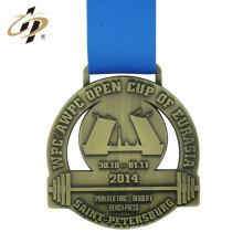 Medalla de levantamiento de pesas de metal de deporte de oro antiguo hueco personalizado con cinta