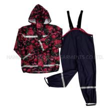 Fleur de pluie PU réfléchissant Hooded veste/imperméable