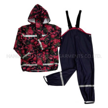 Flor con capucha Reflective PU Rain Jacket / Raincoat