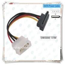 Cable de sata de ángulo recto, Cable de adaptador de alimentación SATA HDD de serie ATA macho a hembra