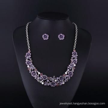 2016 Purple Flower Rhinestone Rhodium Plating Necklace Jewelry Set
