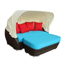 Nuevo modelo sofá cama taburete de mimbre al aire libre