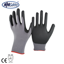 NMSAFETY 15 guage mousse noire nitrile doublure de nylon gants de travail