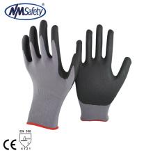 NMSAFETY 15 калибра черный пены нитрила вкладыш нейлона монтажные работы перчатки