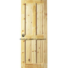 Diseño de puerta de madera de pino nudoso