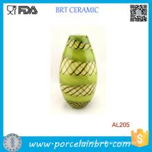 Hand Blown Glass Murano Art Style Teardrop Green Decorative Vase