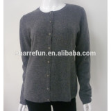 classic basic style women pure crew neck cashmere cardigan