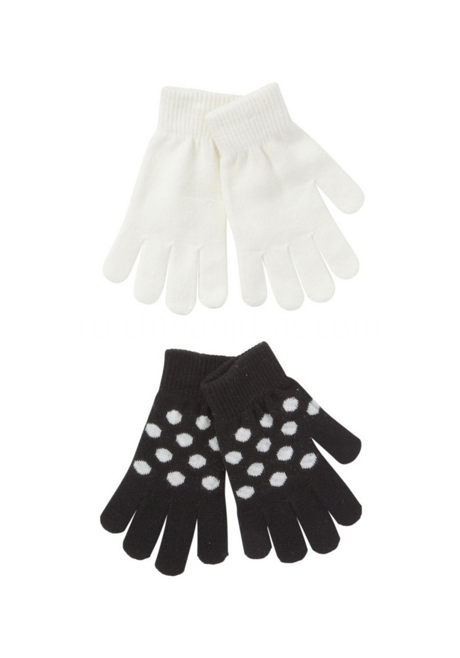 2 Pack Of Intarsia Spot And Plain Gloves