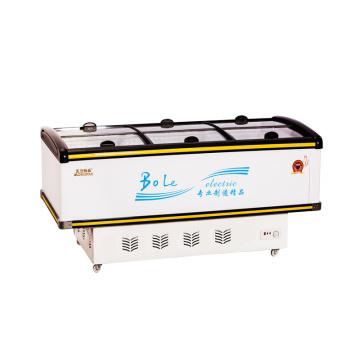 528L Mostruário Display Porta deslizante Island Freezer para Supermercado