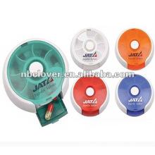 Runde Pillenbox mit Logodruck