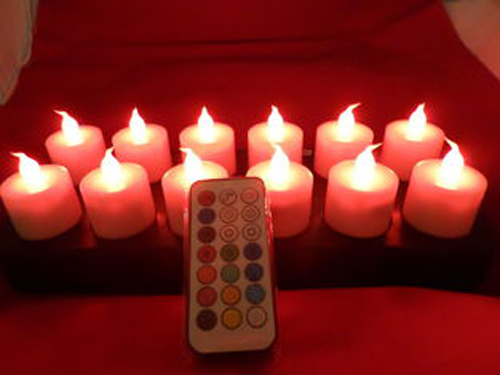 Color changing inductive rechargeable LED tealight candle 1