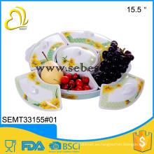 Bandeja de comida impresa personalizada de melamina 2016 con tapa y 5 compartimentos