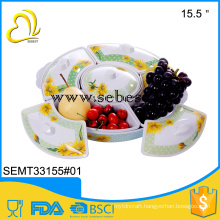 printed custom 2016 melamine round lid food tray with 5 compartments